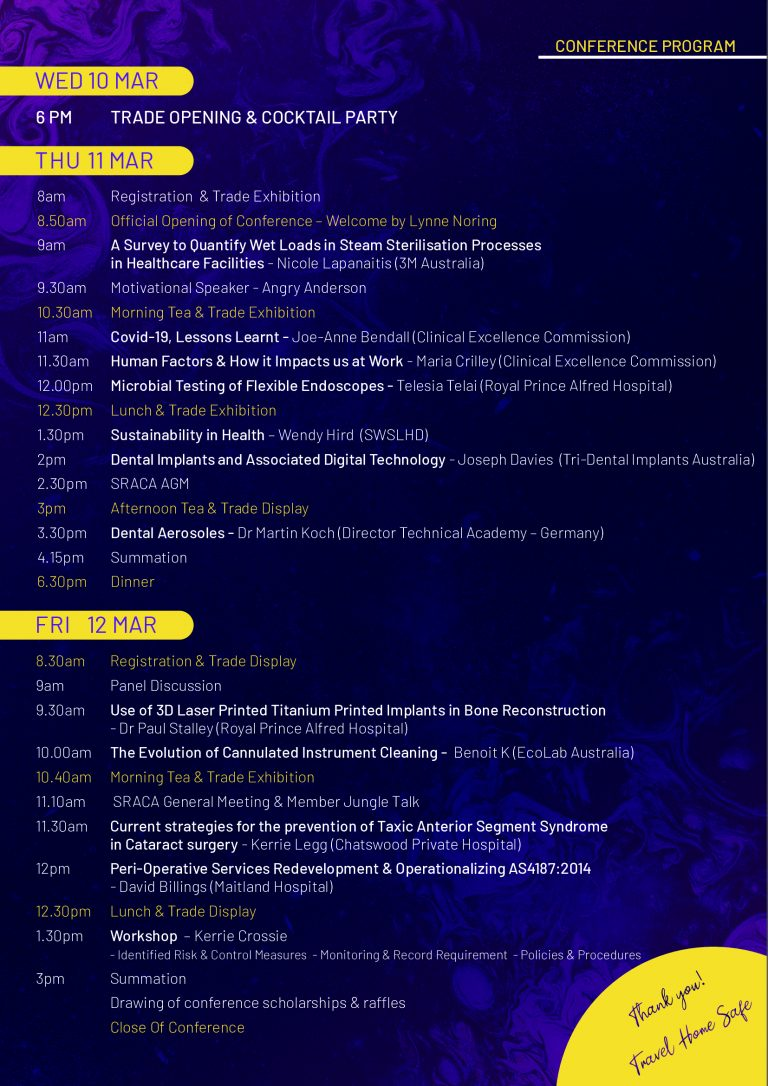SRACA NSW March Conference Program